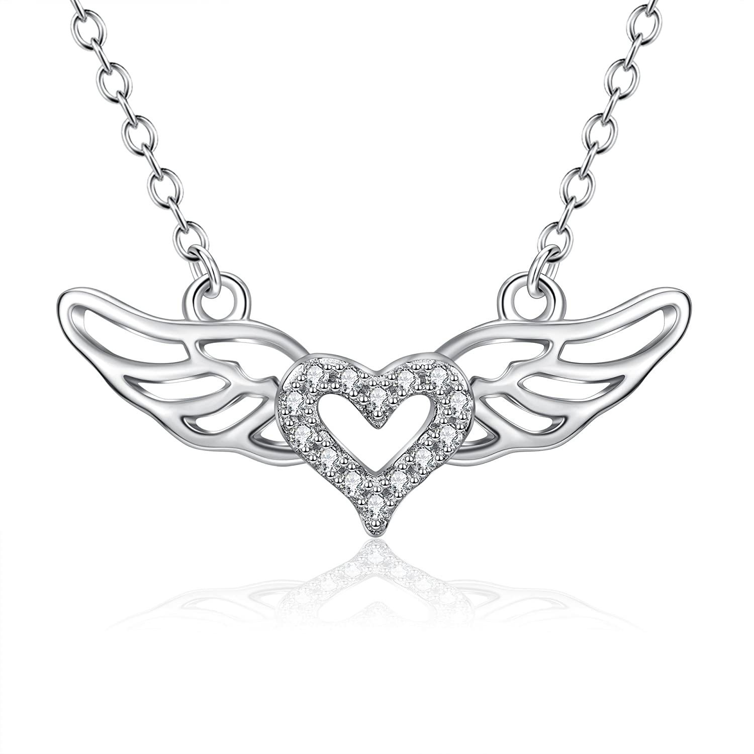 amazon poplyke sterling silver angel wings heart pendant Right- Wing amazon poplyke sterling silver angel wings heart pendant necklace for women girls jewelry