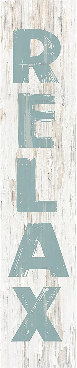 P. Graham Dunn Relax Rustic Whitewash 7.25 x 1.5 Inch Pine Wood Vertical Tabletop Block Sign