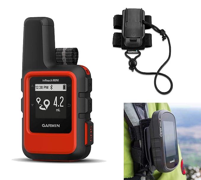 Garmin inReach Mini (Orange) Satellite Communicator Bundle with Hiking Backpack Tether   Belt, Carabiner Clip   Hiking GPS, Small, Rugged, Waterproof, GEOS Emergency Response