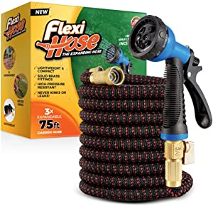 Flexi Hose with 8 Function Nozzle, 75 ft. Lightweight Expandable Garden Hose, No-Kink Flexibility, 3/4 Inch Solid Brass Fittings and Double Latex Core, Black/Red