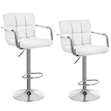 Taburete Songmics. 2 taburetes para bar, color blanco, LJB93, poliuretano, Blanco, 2 x Bar stools