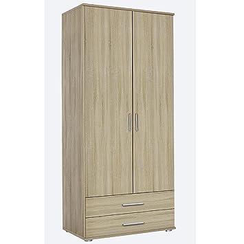 Kleiderschrank Rasant Eiche Sonoma, mit 2 Türen, 2 Schubladen 85x188 ...