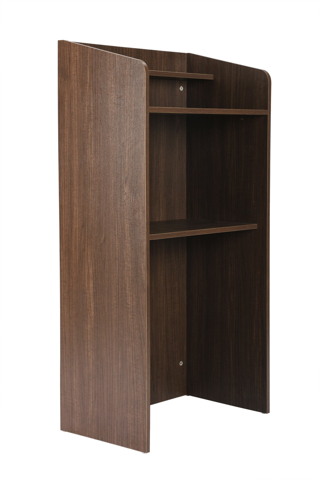 FIVEGIVEN Standing Lectern Podium, Floor Lectern with Shelf Espresso by FIVEGIVEN