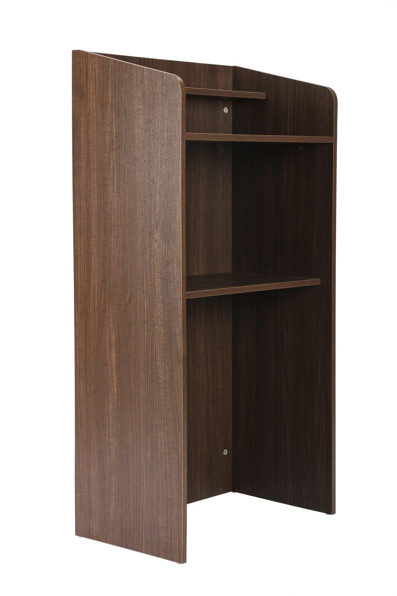 FIVEGIVEN Standing Lectern Podium, Floor Lectern with Shelf Espresso
