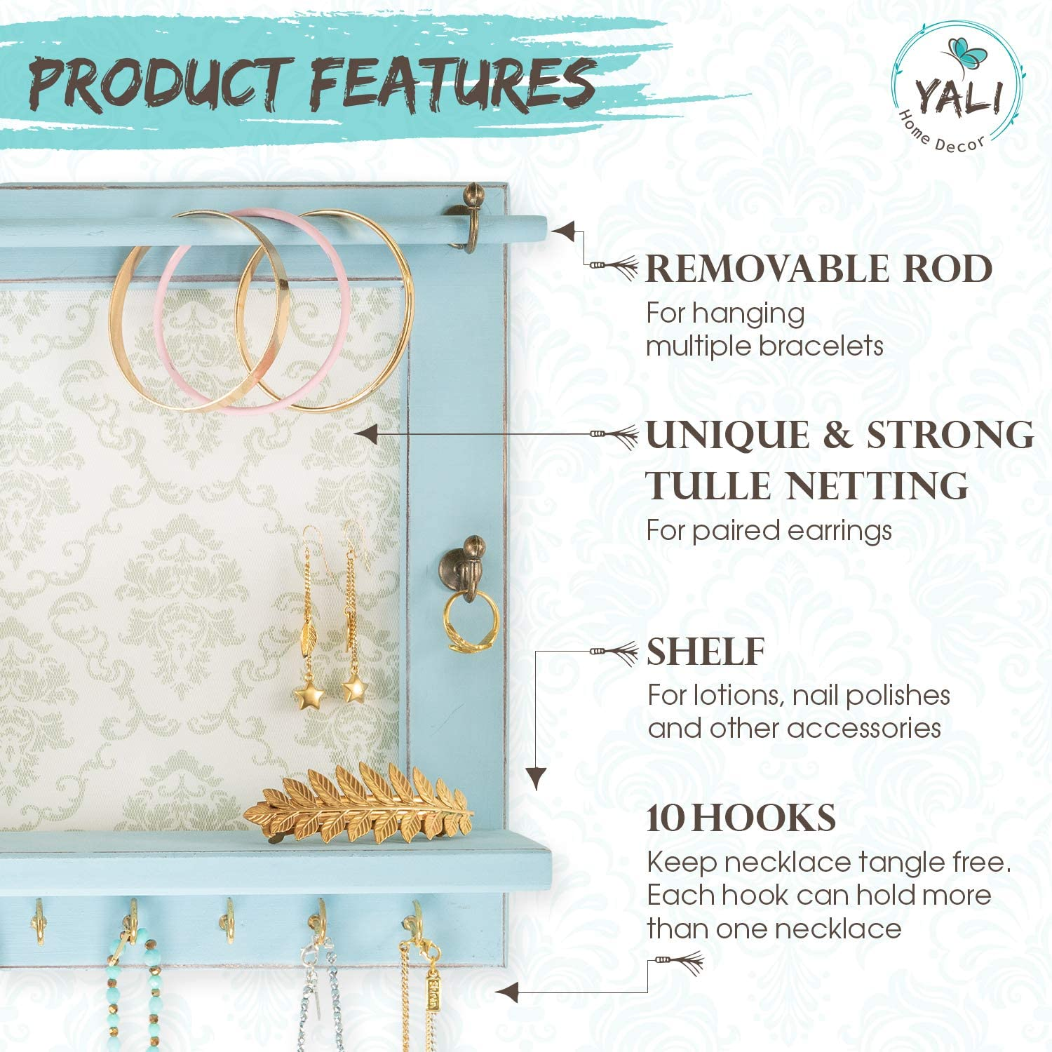Bracelets White or Pale Blue Wall-Mounted Distressed Chic Jewelry Hanging Holder Rack for Earrings Necklaces Yali Home D/écor Rustic Jewelry Organizer and Rings with Wood Shelf