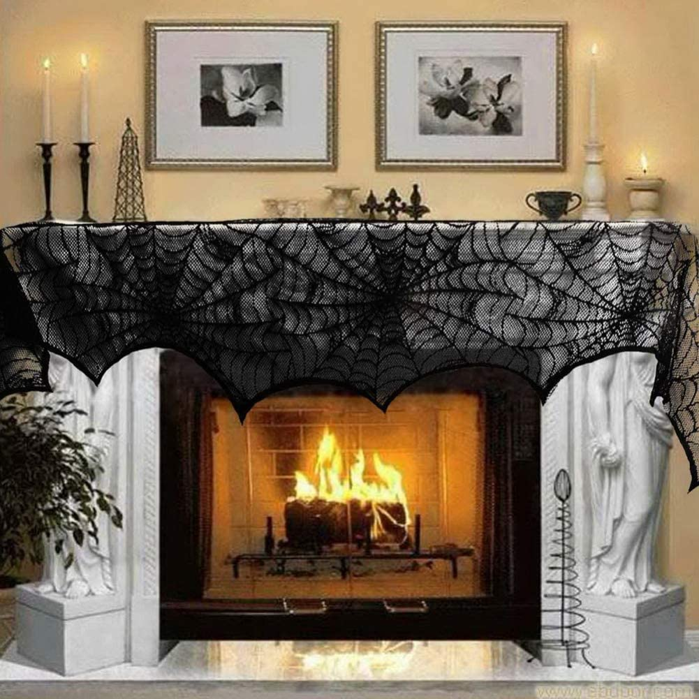 Halloween Fireplace Decoration Party Supplies Lace Spiderweb Fireplace Mantle Scarf Cover Black Cobweb Fireplace Scarf Indoor Halloween Door Table Porch Decor 18x96 inch