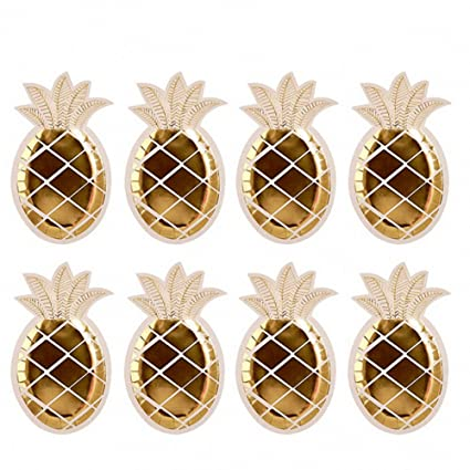 SODIAL 16pcs Gold Foil Pineapple Plates Disposable Tableware set Paper Plates for Hawaiian Party Supplies  sc 1 st  Amazon.com : hawaiian paper plates - pezcame.com