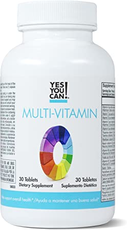 Yes You Can! Multivitamin for Women and Men - Supports Overall Health and Well-Being, Contains Antioxidants, Rich in Vitamin A, B, C and E, Daily Vitamins - Multivitamínico Completo - 30 Tablets