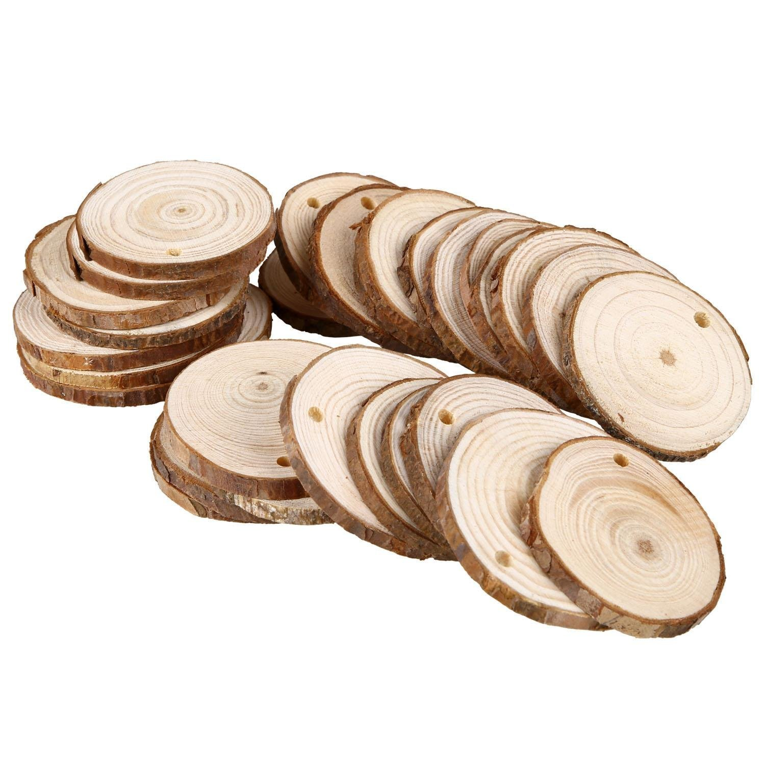 Wooden circles for crafts - Soledi 30pcs Natural Wood Slices Round Discs Tree Bark Wooden Circles For Diy Crafts