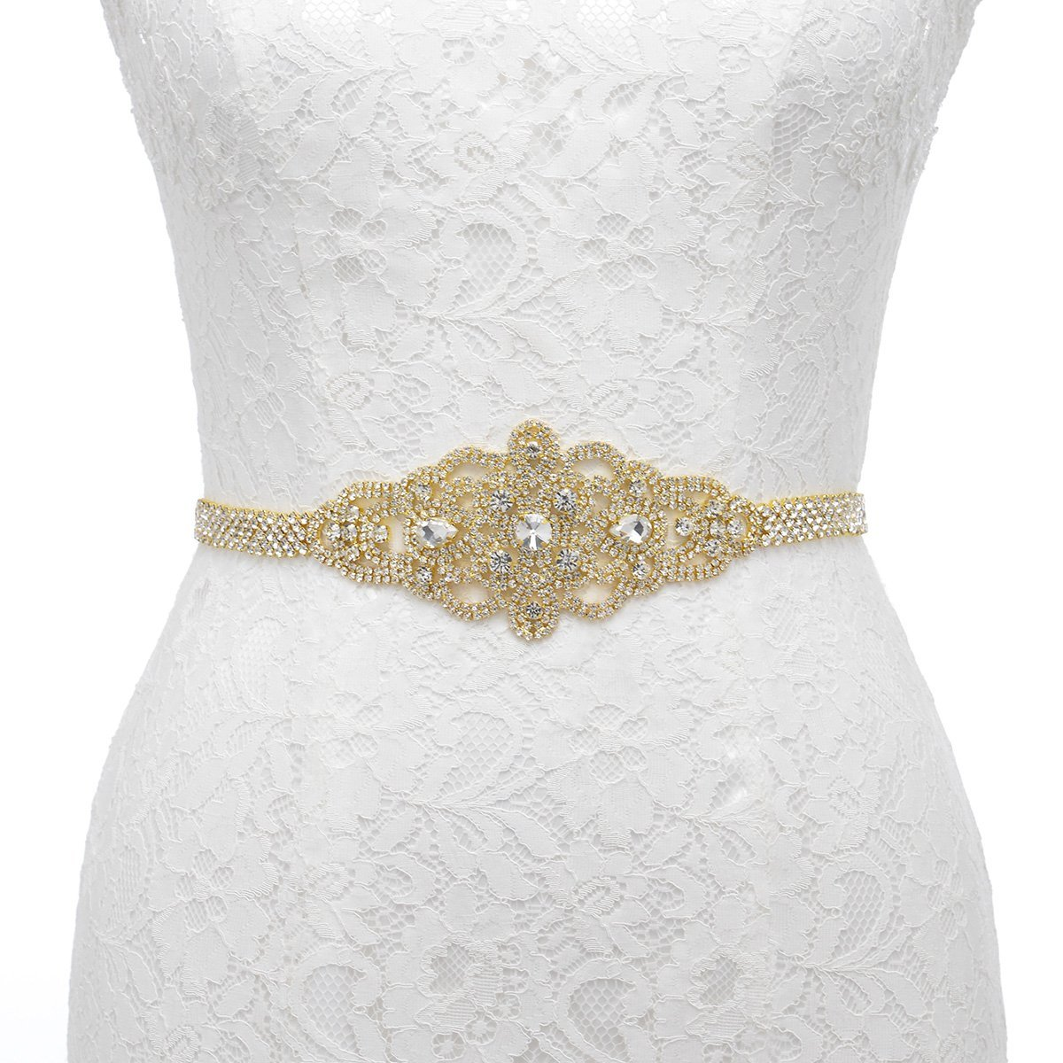Amazon.com: Remedios Satin Sash with Linear Beaded Design ...