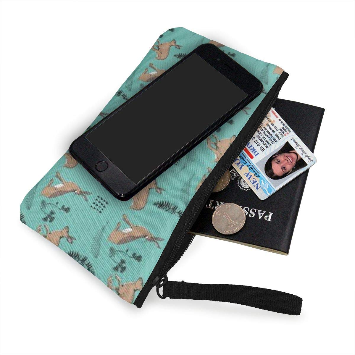 Coin Pouch Hares Green Canvas Coin Purse Cellphone Card Bag With Handle And Zipper