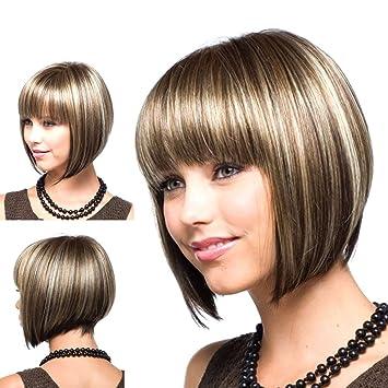 Hrph Peluca sintética resistente al calor de las mujeres Peluca corta natural atractiva del pelo de
