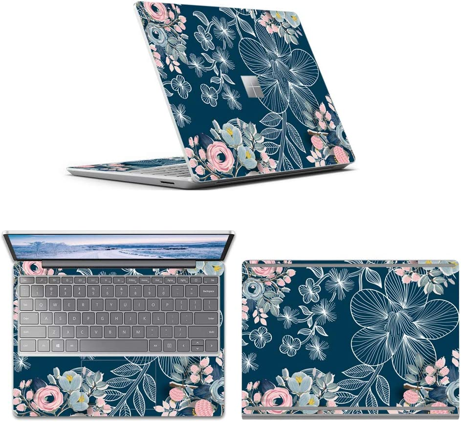 MasiBloom Laptop Protector Skin Decal Sticker for 12.4 inch Microsoft Surface Laptop Go Anti-Scratch Vinyl Laptop Anti-Scratch Protective Skin (ACD Side ( 3in1 Fullbody ), Magnolia Flower)