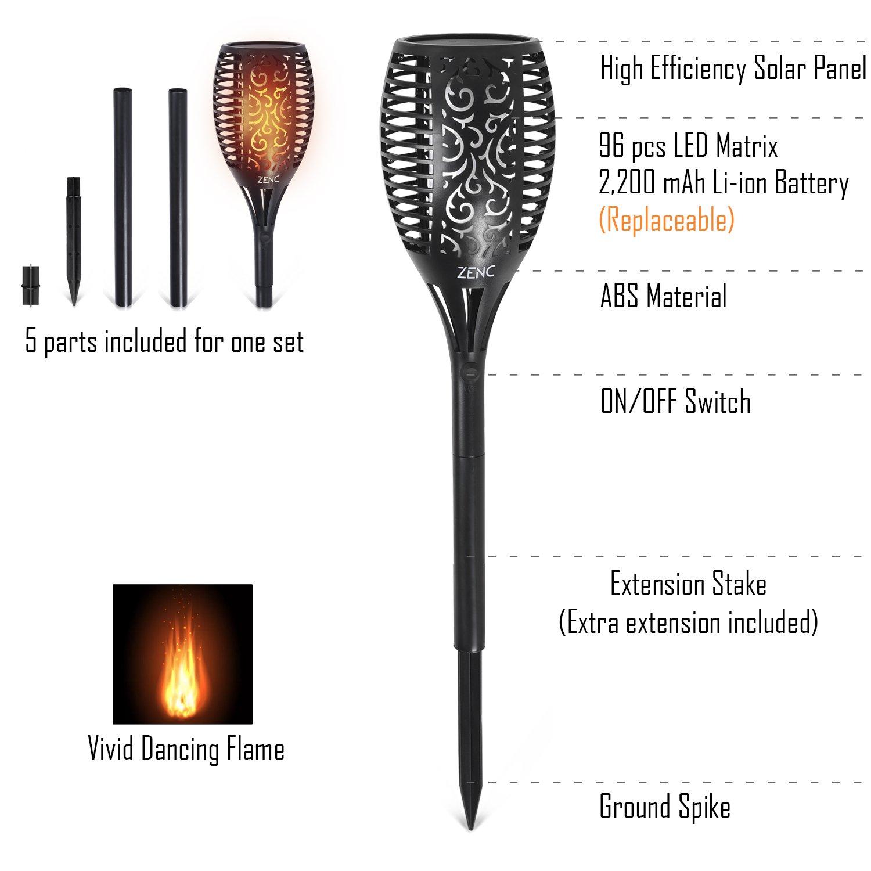 Amazoncom Solar Torch Lights, Zenc Outdoor Led Tiki Lamp Flickering
