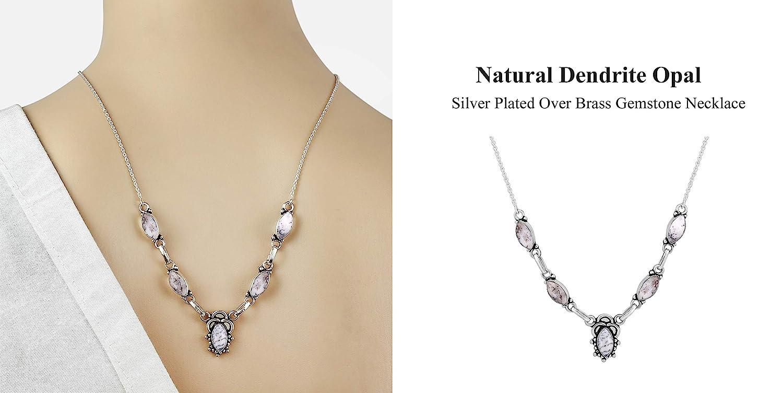 Genuine Gemstone 925 Silver Plated Handmade Necklace Jewelry