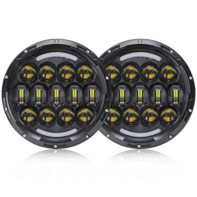 SUP-LIGHT 2 PCS 105W Osram 7 Inch Round LED Headlight with White/amber Turn Signal DRL for Jeep Wrangler Jk Tj Harley Davidson: Automotive
