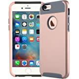Coosin, IPhone 6 6s (Armor Series) Heavy Duty Dual Layer Shockproof Silicone Phone Protection Case TPU Hybrid Slim Fit Cover for IPhone 6 and IPhone 6s (Rose gold)