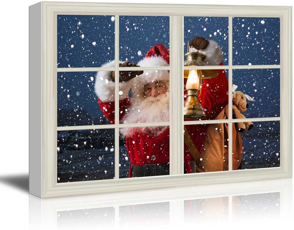 """wall26 - Canvas Print Wall Art - Window Frame Style Wall Art - Santa Claus Carrying Gifts Coming on Christmas Eve 