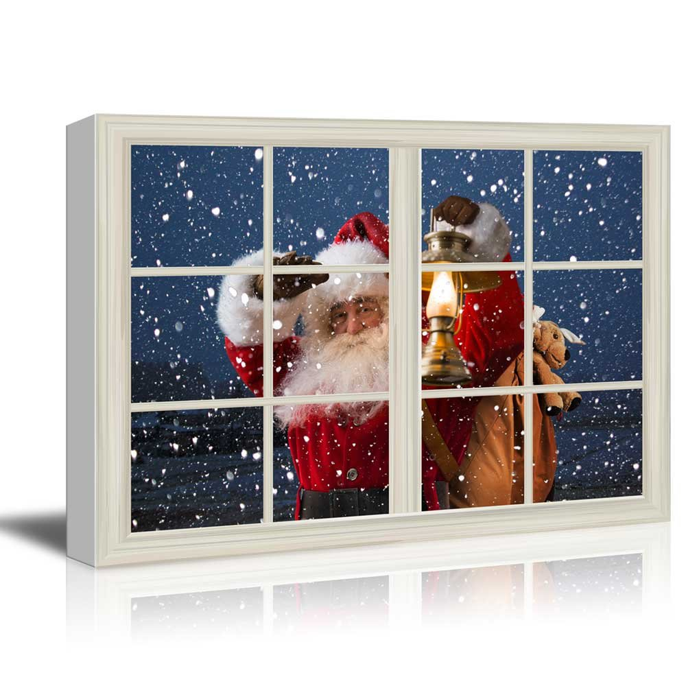 Wall26 art prints framed art canvas prints greeting wall26 canvas print wall art window frame style wall decor santa claus carrying gifts coming on christmas eve giclee print modern home decor jeuxipadfo Choice Image