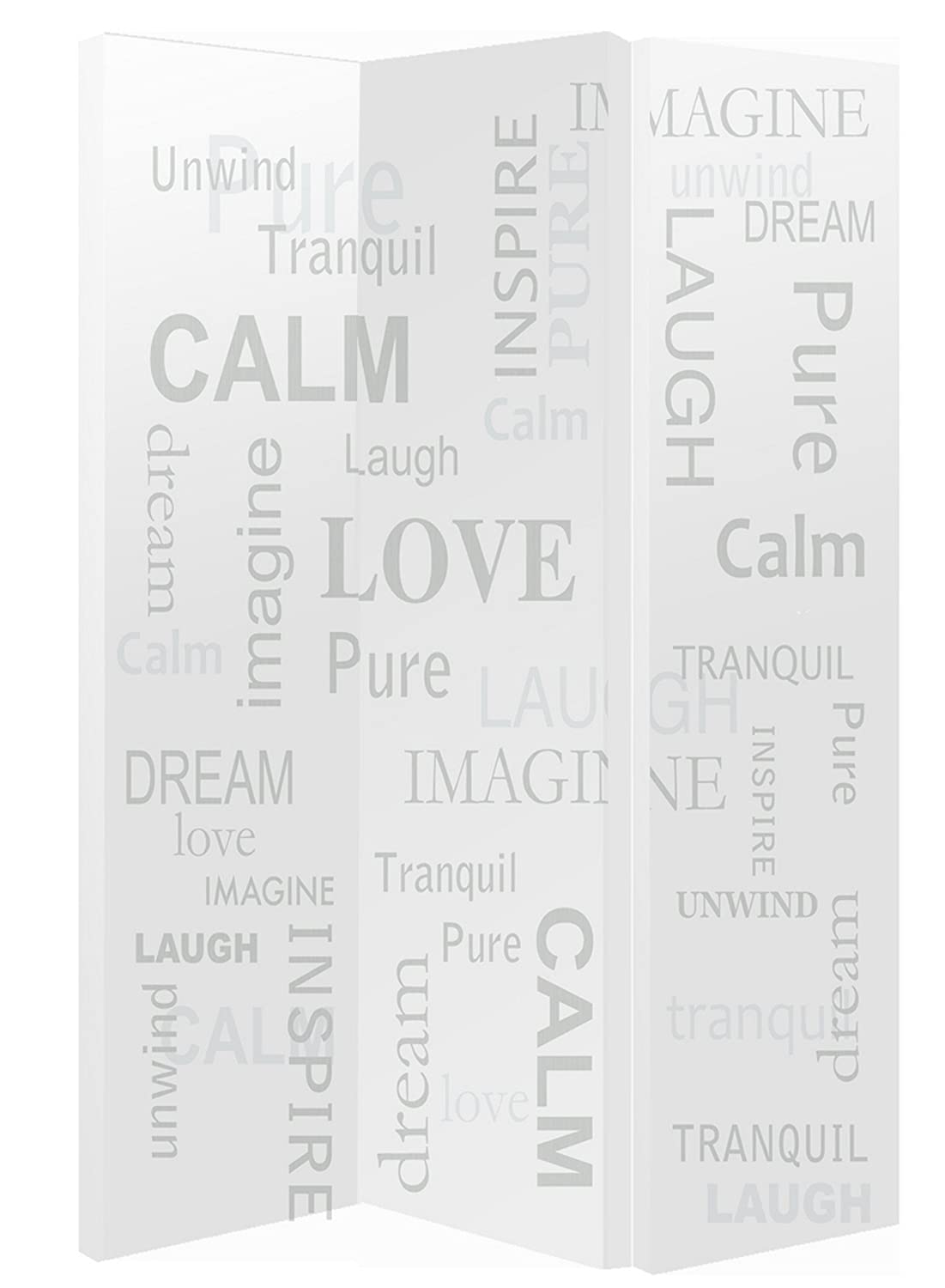 Arthouse Words Screen, Polyester, Neutral, 150 x 120 x 2.5 cm 008149