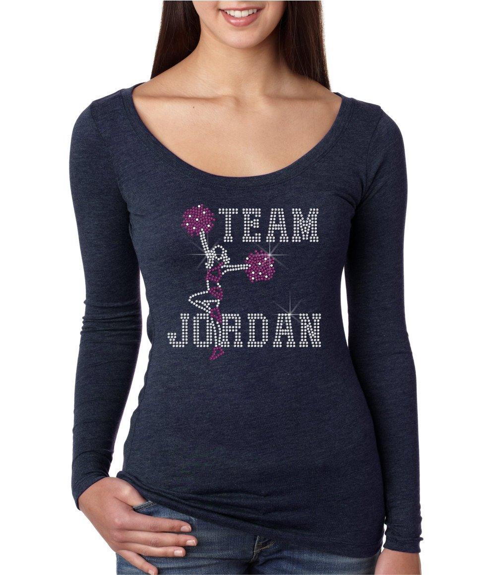 bling rhinestone ''TEAM JORDAN'' Next Level Woman Tri- blend Long Sleeve. Crystal Heat Transfer motif apparel. by Crystal Trends
