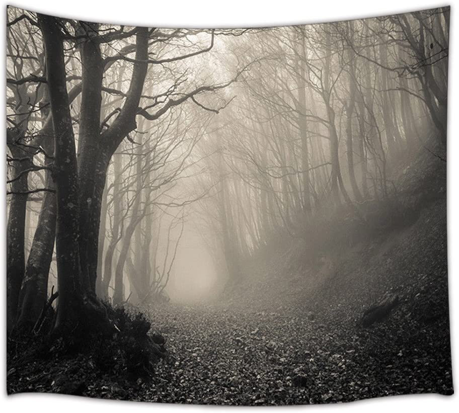 KOTOM Gothic Decor Tapestry, Horror Haunted Forest with Thick Mysterious Fog, Wall Art Hanging for Living Room Bedroom Dorm Decor 71X60Inches Wall Blankets