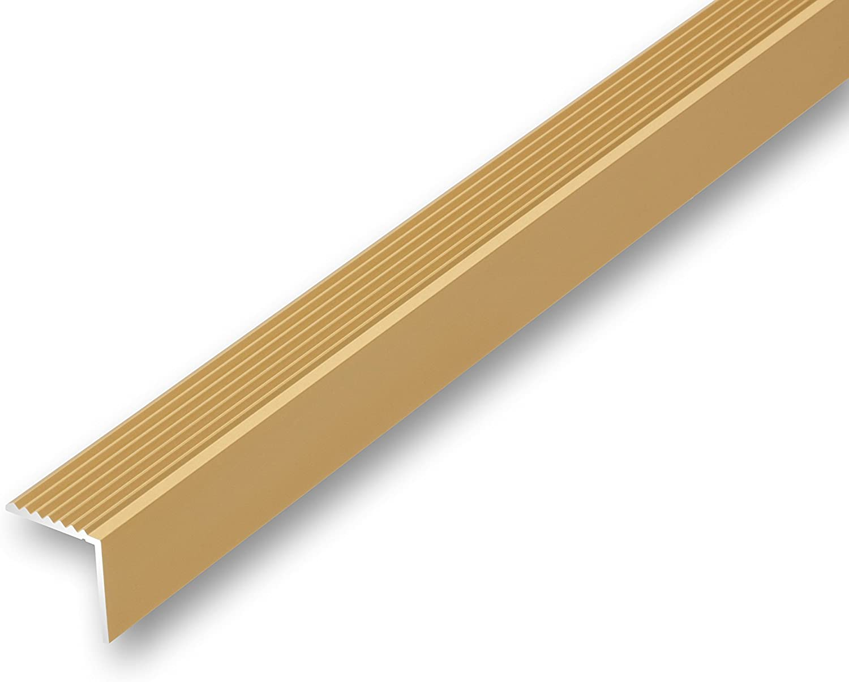Treppenwinkel 19 x 20 x 1000 mm gold zum schrauben Treppen-Kantenprofil Stufen-Profil Alu-Winkel Kantenwinkel grob gerieft 19 x 20 x 1000 mm gebohrt inkl. Montageset, gold