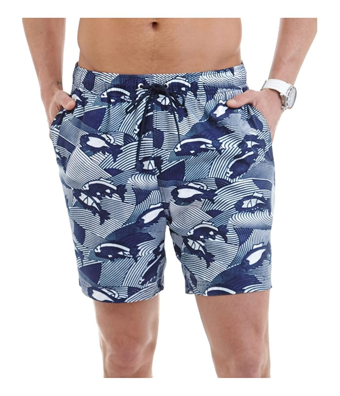 Nautica Mens Fish Print Swim Bottom Trunks