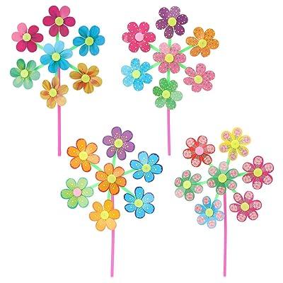 Yuxiale Flower Pattern Spinner Wind Windmill Kids Children Toys Garden Yard Decoration: Toys & Games