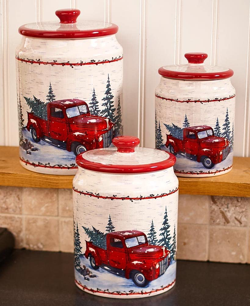 Vintage Country Red Pick Up Truck Kitchen Canisters - Set of 3 Jars