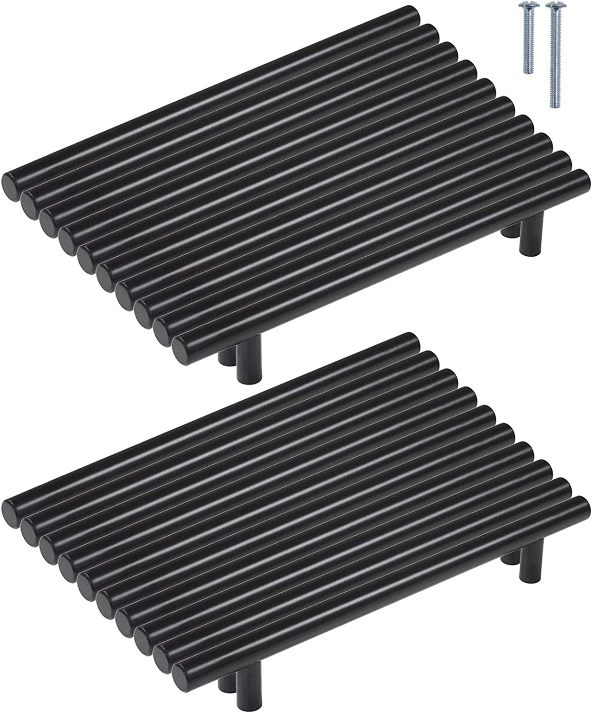 Schrauben enthalten 5 St/ück Griffe K/üche Lochabstand 160mm M/öbelgriffe Edelstahl Schwarz K/üchenschrank Stangengriffe