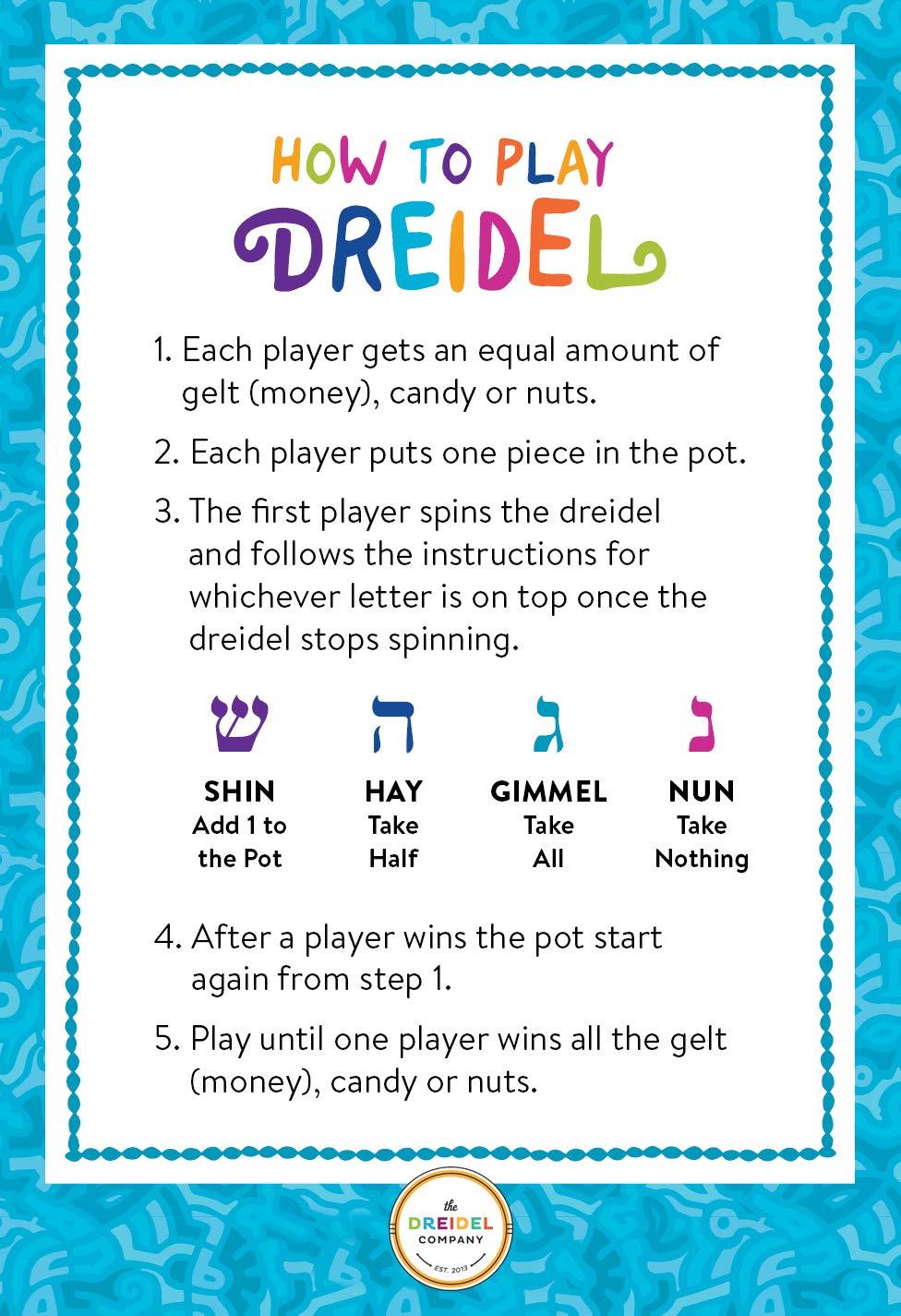Hanukkah Dreidel Extra Large Wooden Dreidels Hand Painted - Includes Game Instruction Cards! (10-Pack XL Dreidels) by The Dreidel Company (Image #3)