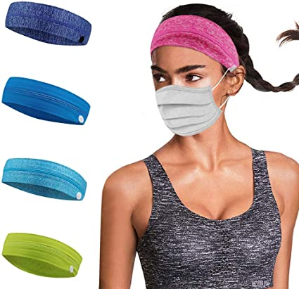 Button Headband for Nurses Women Men Yoga Sports Workout Turban Headwrap for Doctors /& Everyone Protect Your Ears