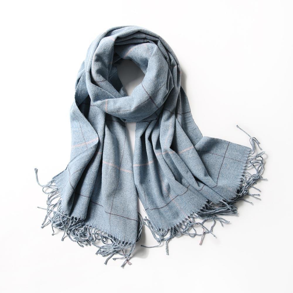 El invierno de las mujeres rejilla hizo punto las bufandas calientan el mantón caliente los 220 * 60cm , A