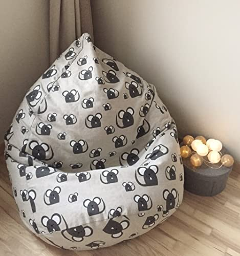 Superbe Natural Bean Bag Chair Linen Cover Mouse Print Beanbag For Kids And Adults  Large Gray Floor