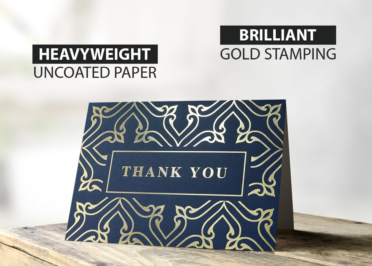 100 Thank You Cards Bulk - Thank You Notes, Navy Blue & Gold - Blank Note Cards with Envelopes - Perfect for Business, Wedding, Gift Cards, Graduation, Baby Shower, Funeral - 4x6 Photo Size by Spark Ink (Image #5)
