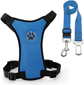 RONSHIN Household Pet Supplies Dogs Pet Safety Outdoor Travel Air Mesh Car Pet Collar and Seatbelt Clip Navy Blue S