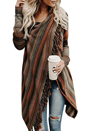 a5eb8dcd97 Wowfashions Women s Striped Tassel Fringe Long Sleeve Pullover Sweater Open  Front Knit Cardigan at Amazon Women s Clothing store