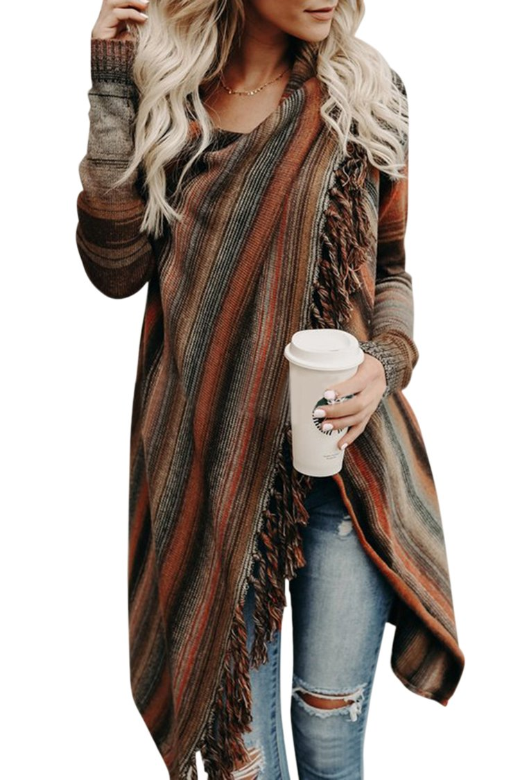 Wowfashions Women's Striped Tassel Fringe Long Sleeve Pullover Sweater Open Front Knit Cardigan Brown XL