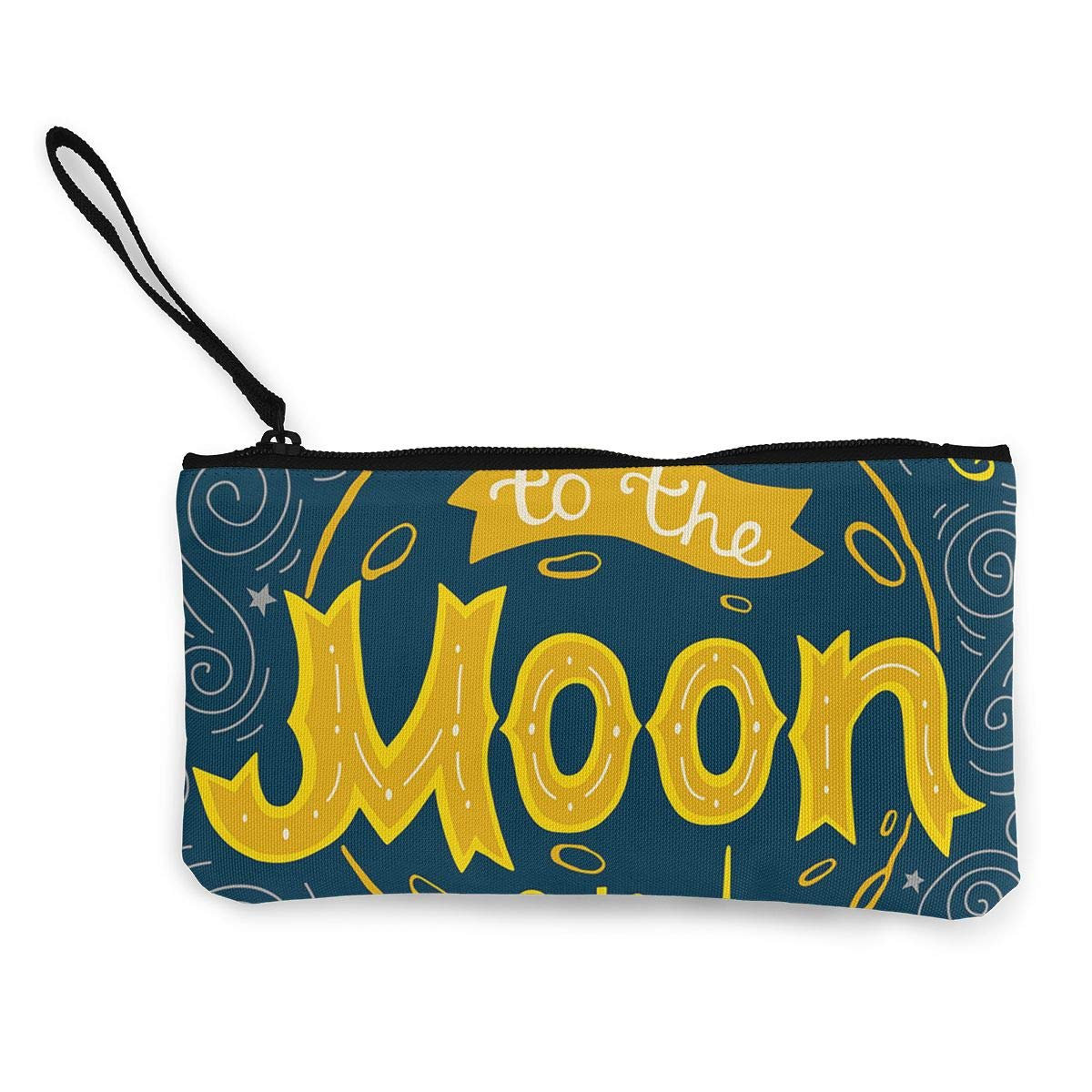 Cellphone Bag With Handle DH14hjsdDEE I Love You To The Moon And Back Zipper Canvas Coin Purse Wallet Make Up Bag