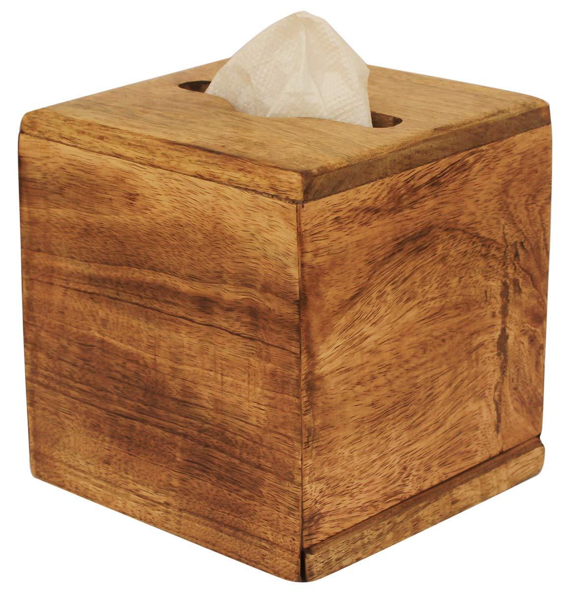 Crafkart Best Buy Wooden Plain Kleenex Tissue Box Holder - Brown Wood Paper Tissue Holder for Napkin and Tissues - Perfect Home Table Decor by CRAFKART