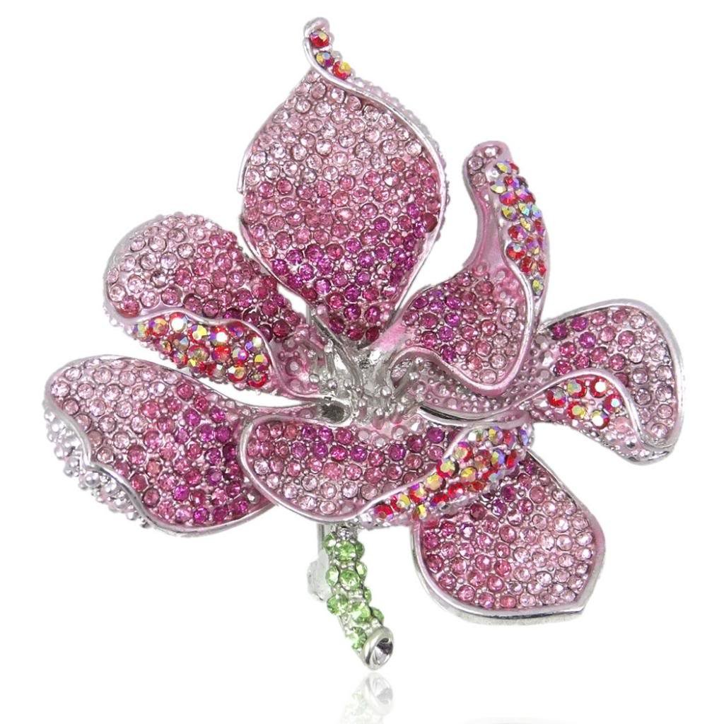 EVER FAITH Women's Austrian Crystal Orchid Flower Petal Brooch Pink Silver-Tone