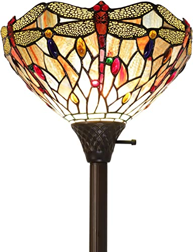 Lucidce Tiffany Torchiere 2 Lights Floor Standing Lamp Dragonfly Style Multicolor Stained Glass Crystal Bead Lamp for Dining Room Living Room Bedroom Room