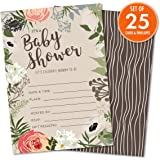 """Floral Baby Shower Set of 25 Fill-In Invitations with Envelopes, Gender-Neutral Tan, Light Brown, 4.25"""" x 6"""" Printed on Heavy 140lb Card Stock, Celebrate the Little One On the Way"""