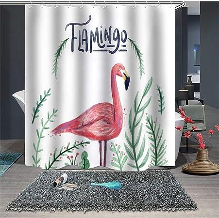 Tropical flamant Rideau de douche chambre Tissu Imperméable /& 12 crochets 180*180CM
