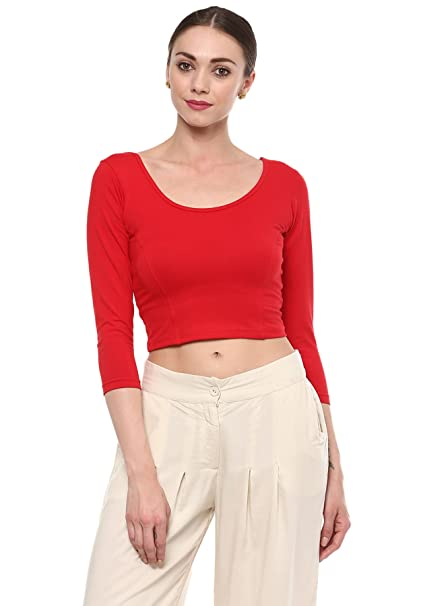099a810ca8256a Salwar Studio Red Cotton Lycra Stretchable Readymade Free Size Saree Blouse  for Women-SSB1726-RED-FS: Amazon.in: Clothing & Accessories