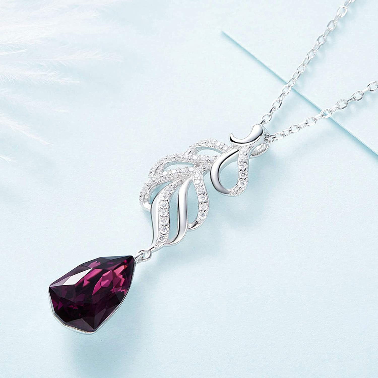 Aooaz Silver Material Necklace Womens Girls Feather Pendant Necklaces Silver Anniversary