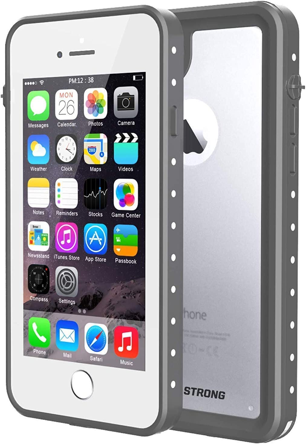 iPhone 7/8 Case, ImpactStrong Waterproof Case [Fingerprint ID Compatible] Slim Full Body Protection for Apple iPhone 7 and iPhone 8 (4.7 inch) - Gray/Clear