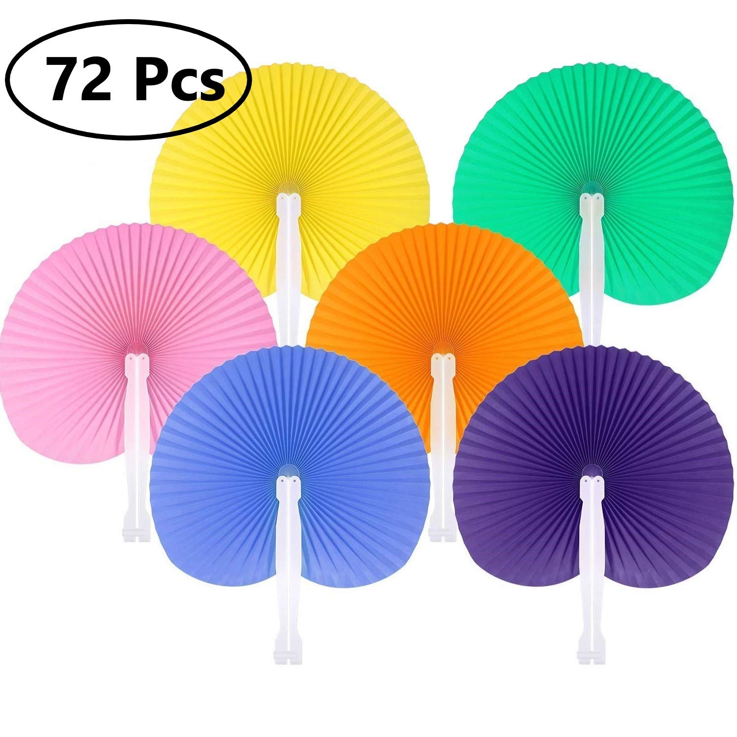 KONIBN 72 Pack Folding Fans Paper Fans Round Shaped Wedding Hand Fans with Plastic Handle for Wedding Favor Party Bag Filler (6 Colors) by KONIBN