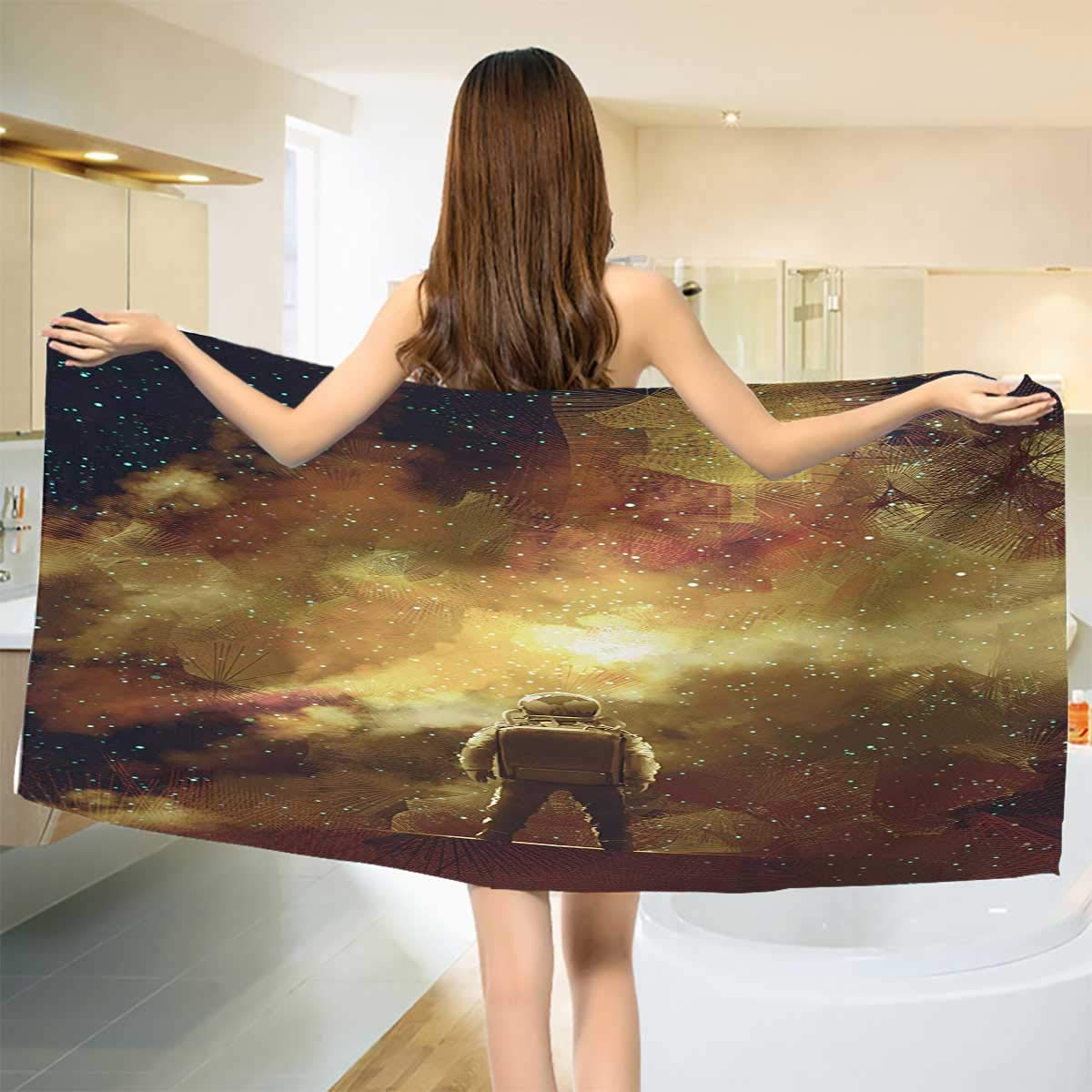 Chaneyhouse Fantasy,Baby Bath Towel,Cosmonaut Person Standing Against Cosmos Nebula Themed Solar Themed Artwork Print,Print Wrap Towels,Tan Black Size: W 10'' x L 39.5''